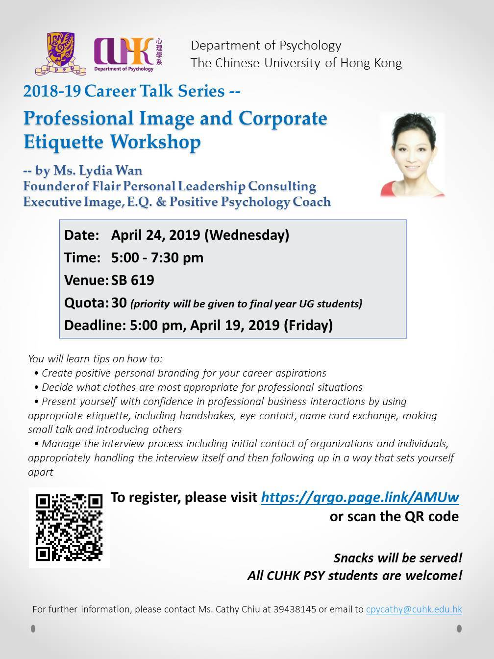 Career Talk - Professional Image and Corporate Etiquette Workshop