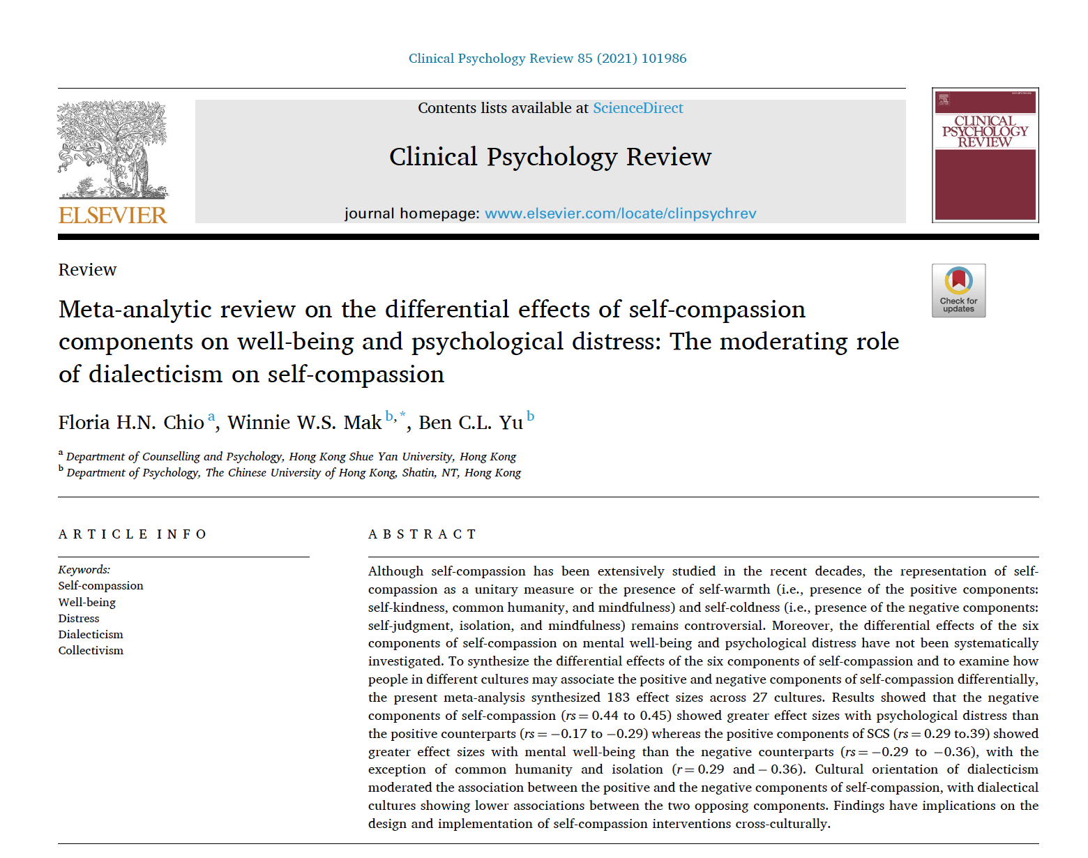 Meta analytic review of self compassion