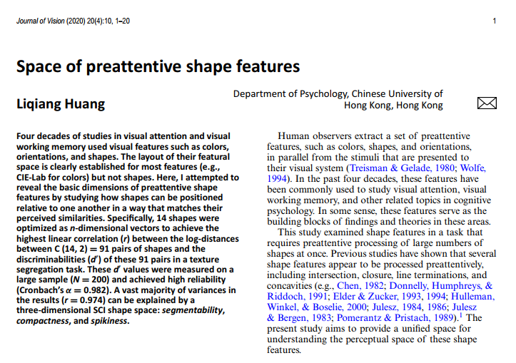 Space of preattentive shape features